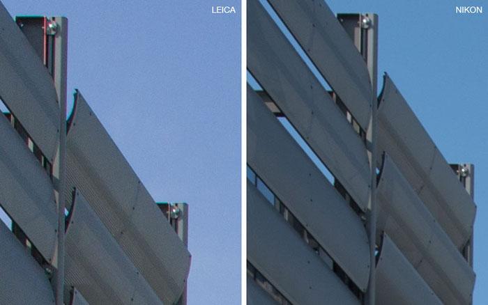 Bildausschnitt Mitte in 100% Ansicht, ungeschärft: links Leica M9 mit PC-Super-Angulon-R 2,8/28 mm, rechts NIKON D4 mit dem PC-E Nikkor 24 mm 1:3,5D ED. Foto: Klaus Schoerner