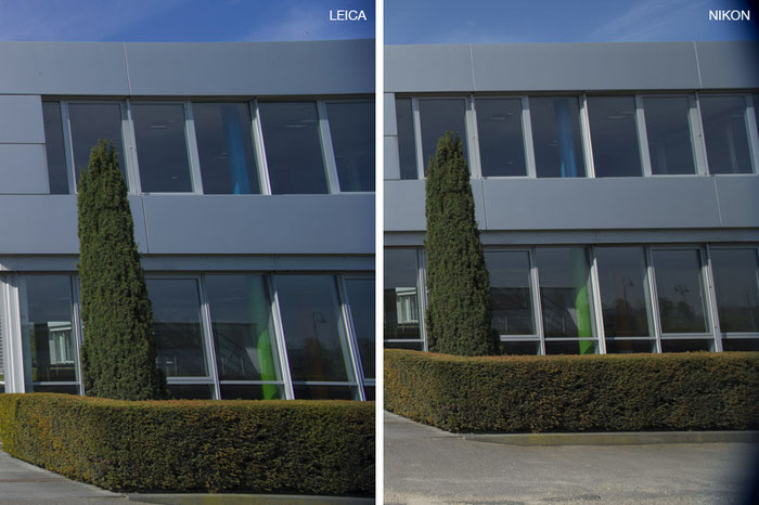 Vergleichs-Test im extremen Randbereich: links Leica M9 mit PC-Super-Angulon-R 2,8/28 mm, rechts NIKON D4 mit dem PC-E Nikkor 24 mm 1:3,5D ED. Foto: Klaus Schoerner