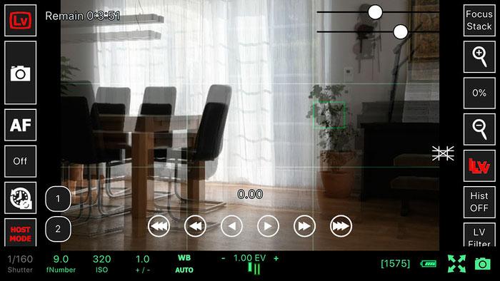 Test: Live View mit Geisterbild zur besseren Ausrichtung. WLAN Tethered Shooting mit NIKON und ControlMyCamera V1.0.1. Screenshot und Foto: Bonnescape