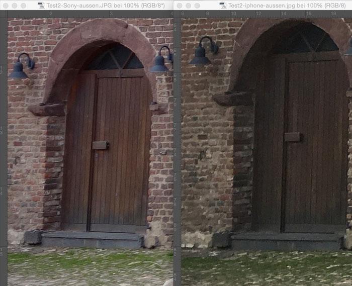Vergleichsbild aus dem Test-Set2, Bereich Bildrand. SONY links, IPHONE rechts. Foto: Klaus Schoerner