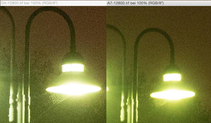 Testergebnis Nachtaufnahme extrem mit Nikon D4 versus Sony Alpha 7s bei 12800 Iso. Copyright 2016 by Klaus Schoerner