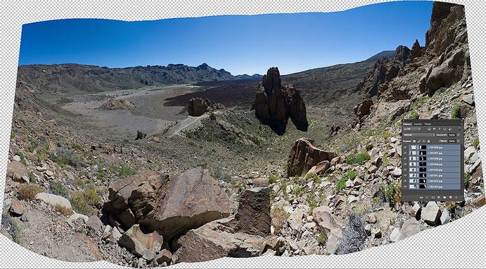 Las Canadas del Teide, Teneriffa. Montage-Datei für das Panorama-Foto in PHOTOSHOP. Leica M9 mit 2,8/21 mm ZEISS Biogon. Foto: Klaus Schoerner