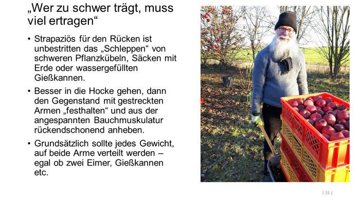 """Foto: Petra Schweim (Appelbarg) - """"Wer zu schwer trägt, muss viel ertragen"""" - Gartenbotschafter John Langley®"""