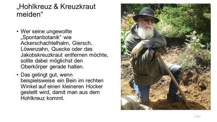 """Foto: Petra Schweim (Appelbarg) - """"Hohlkreuz & Kreuzkraut meiden"""" - Gartenbotschafter John Langley®"""