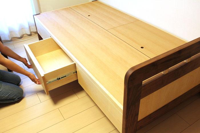 パンダカラーの収納付きベッド(藤沢市・K様邸)抽斗