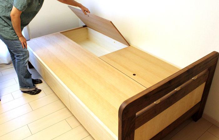 パンダカラーの収納付きベッド(藤沢市・K様邸)収納