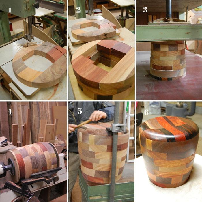 銘木寄木スツールの製作行程