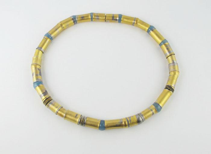 Unikat Hanne Beyermann-Grubert  , Röhrenkette mit Kugelgelenken aus Aquamarin und Palladium