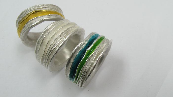 Prachtvolle Lamellenringe, meine schönsten Ringe , Schmuckdesign, Designerschmuck von Hanne Beyermann-Grubert