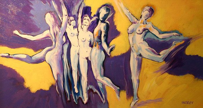 akt, nude, eroticism, tanz, gruppe, acryl, leinwand, gunnar mozer
