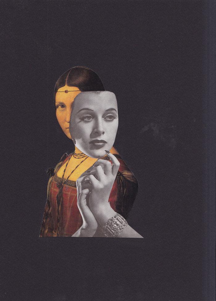 """""""Demaskierung"""", 2018. Papier auf schwarzem Leichtkarton. 21,5x29,5cm."""