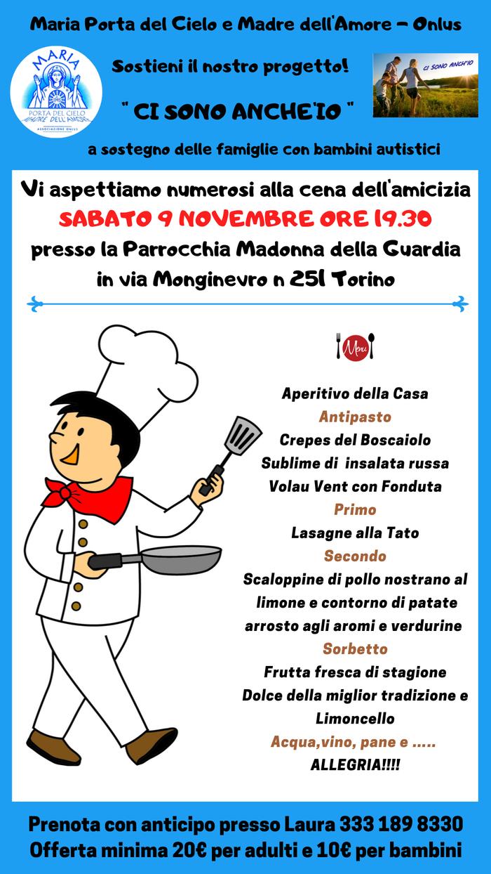 Cena dell'amicizia Torino sabato 9 novembre 2019