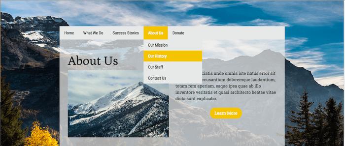 Website using yellow