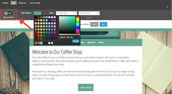 choose a color scheme for your website