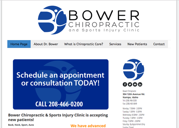 Bower Chiropractic uses the right sidebar of the Helsinki template for their contact information and hours.