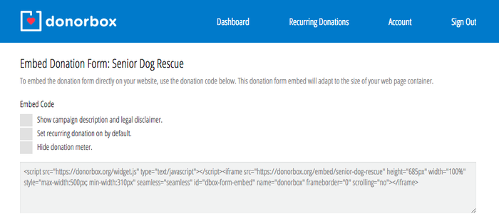 Donorbox embed code