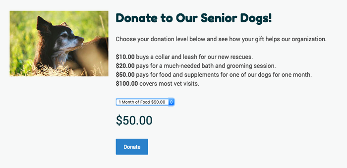 Donations on Jimdo website using product variations