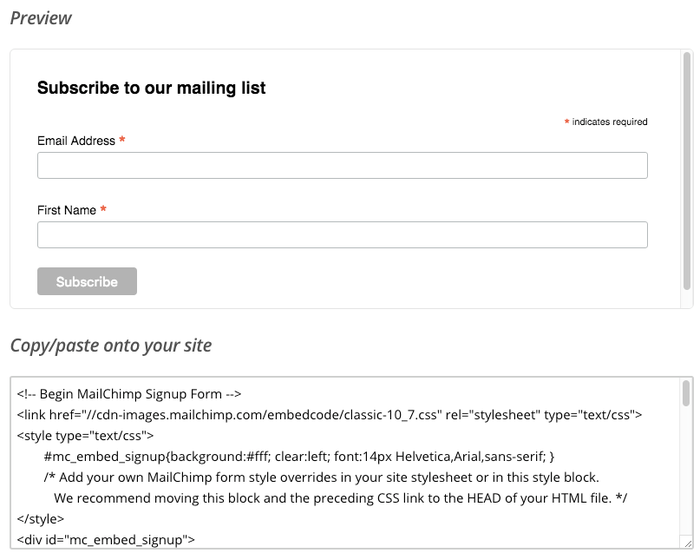 MailChimp code onto Jimdo website