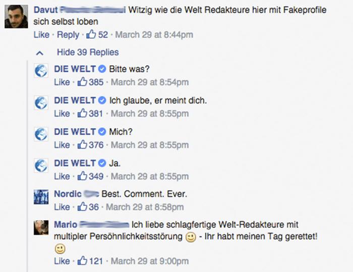 Die Welt reageert met humor op negatieve reacties op Facebook