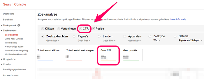 Voorbeeld van de CTR in een zoekanalyse op Google Search Console.