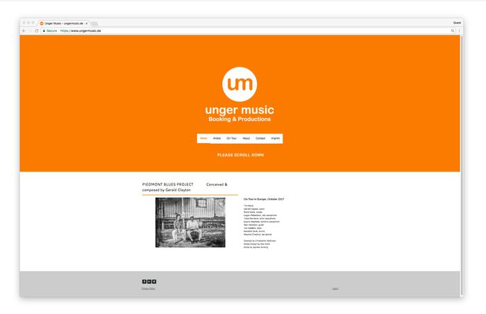 Unger music gebruikt een heldere, vrolijke oranje kleur om zijn speelse kant te benadrukken.