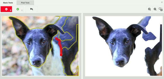Voorbeeld van de opties binnen fotobewerkingstool Background Burner