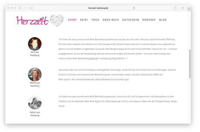 Jenny von Herzzeit Hamburg lässt direkt auf ihrer Startseite Kundinnen zu Wort kommen. Das schafft Vertrauen und Transparenz!