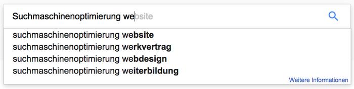 Google schlägt euch Wortkombinationen vor – optimal, um Keywords zu finden.