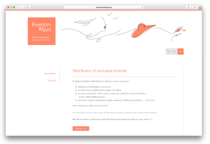 """Die Webseite """"Freedom&Spirit"""" nutzt die aufgeteilte Navigation, um ihre mehrsprachigen Inhalte übersichtlich aufzubereiten. Die erste Navigationsebene dient hierbei dem Wechsel zwischen den Sprachen."""