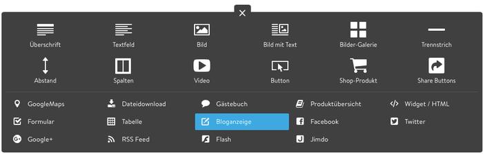 """Die Bloganzeige hier blau markiert, könnt ihr über """"Inhalte einfügen"""" einbetten."""