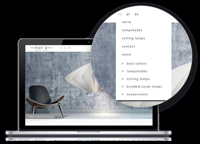 """Das Design """"Rome"""" eignet sich ausgezeichnet dafür, eine mehrsprachige Seite per Dropdown-Menü klar zu strukturieren."""
