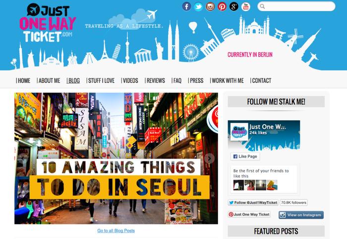 Just One Way Ticket verwendet die Funktion Wechselbild auf der Startseite, um die letzten 10 Blog-Posts anzuzeigen.