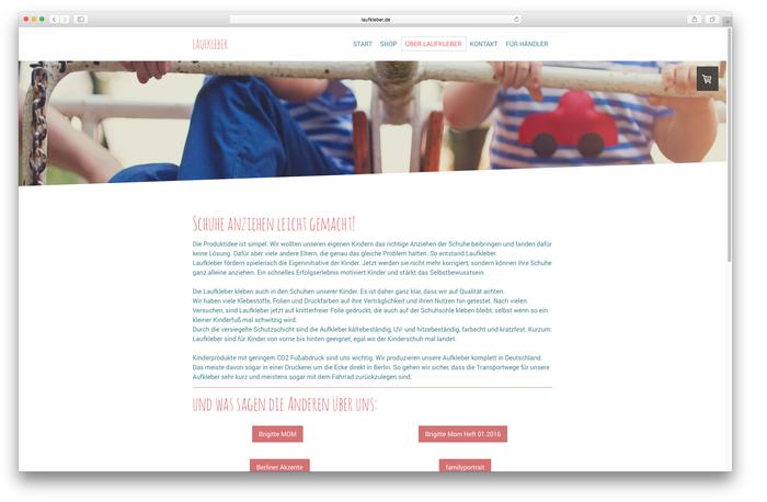 """""""Laufkleber.de"""" ist mit den Buttons und Überschriften perfekt auf Scanner-Leser ausgerichtet. Für einen selbst wichtige Informationen findet man direkt auf den ersten Blick!"""