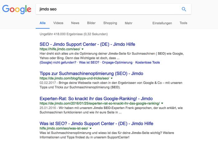 """Die Kollegen von Jimdo haben sich Mühe gegeben, dass ihr möglichst viele Informationen unter dem Suchbegriff """"Jimdo SEO"""" findet."""
