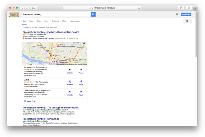"""So sieht das Suchergebnis aus, wenn ich nach """"Fitnessstudio Hamburg"""" suche. Die bei Google My Business angemeldeten Studios werden mir mit Karte und Öffnungszeiten angezeigt."""