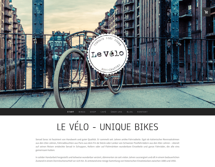 Die Webseite von Le Vélo vermittelt urbanen Charme durch gut kombinierte Fotos und Farben.