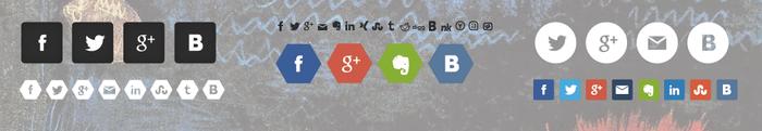 Разнообразие стилей кнопок социальных сетей