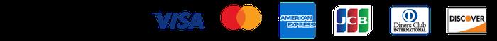ご利用可能クレジットカード VISA、mastercard、AmericanExpress、JCB、DinersClub 、Discover