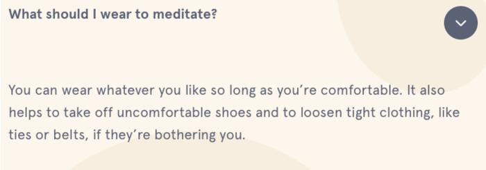 Esempio tratto dalla pagina delle FAQ di Headspace