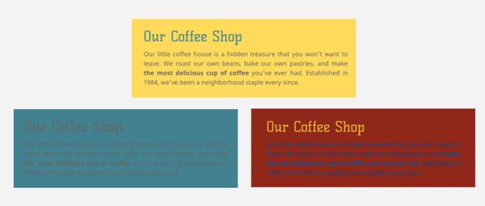 Assicurati che il colore dello sfondo e quello del testo siano in contrasto per rendere il sito ben leggibile.