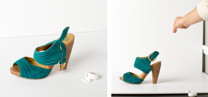 Esempi di presentazione di prodotto: disordinata (foto a sinistra) e pulita, che valorizza la forma (foto a destra).