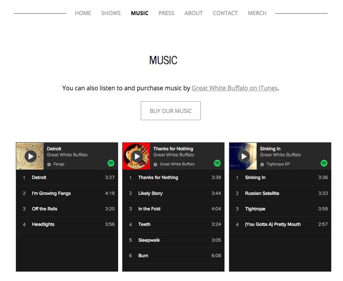 Schermata di un sito web creato con Creator in cui compare il widget di Spotify