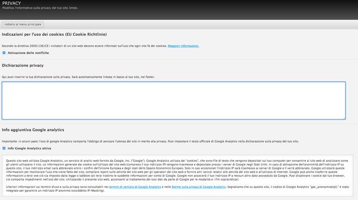 Area Privacy dove inserire, sui siti Jimdo, la Dichiarazione sulla Privacy.