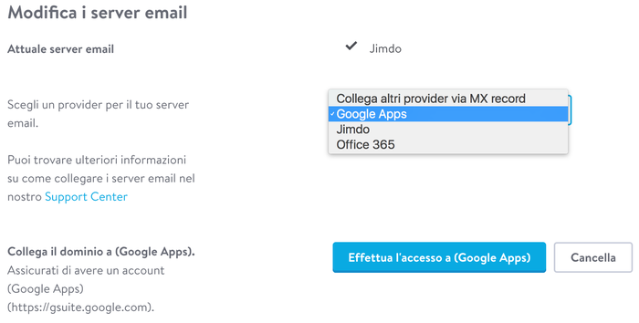 Modifica i server email