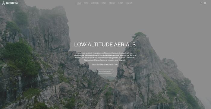 Video di copertina del sito di Aerocircus che mostra una carrellata dei loro lavori
