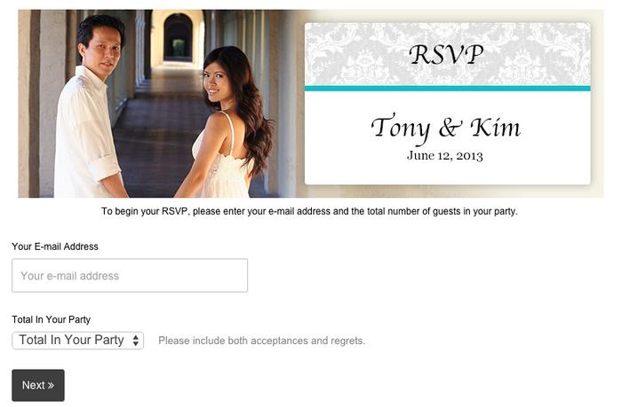 Widget formulario RSVP per sito matrimonio