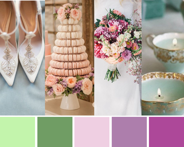 Lilac and soft green themed palette