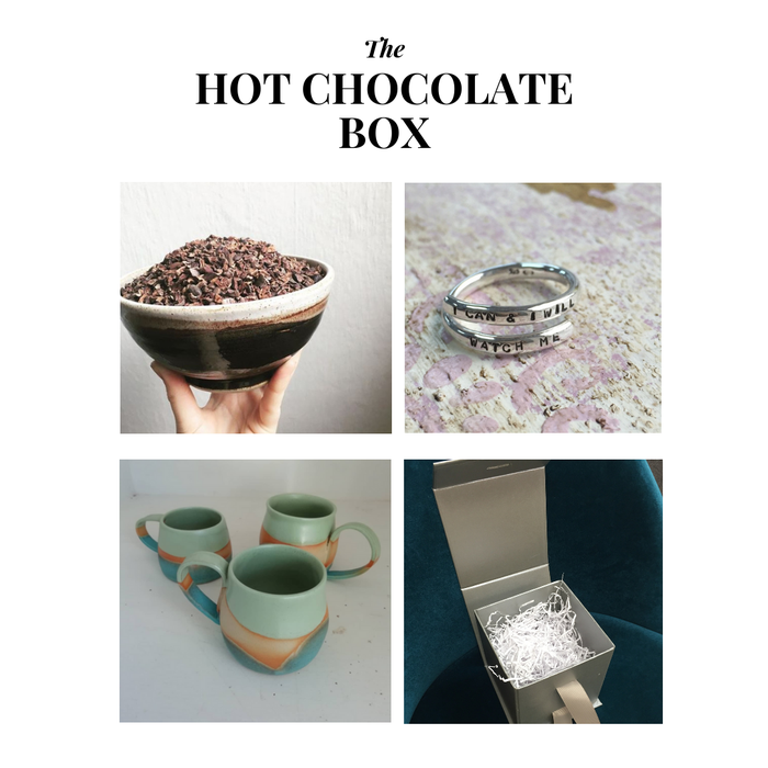 hot chocolate box Artists of the North Collaboration gift box Raw Pots Abaisse Chocolatier