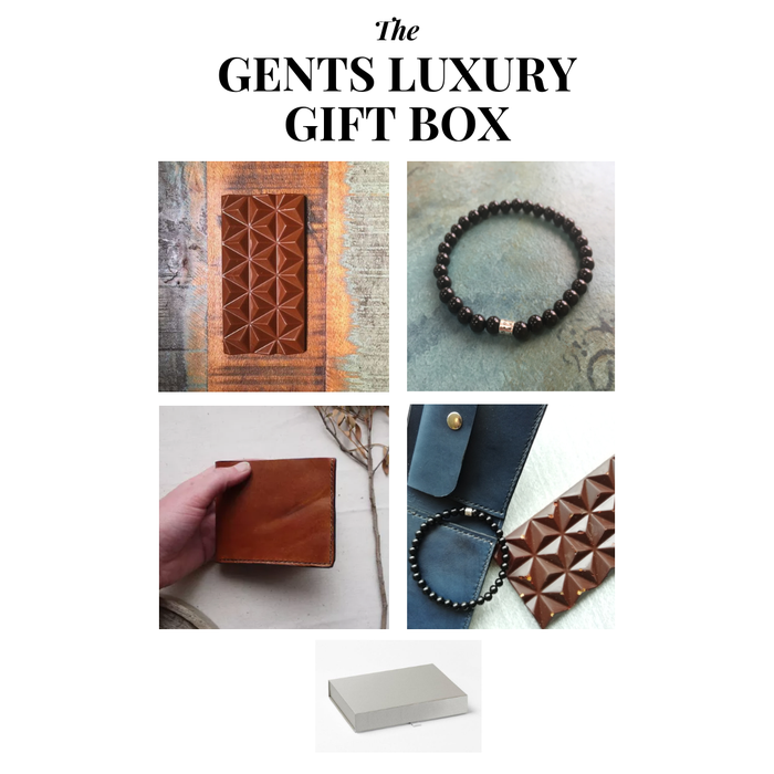 Artists of the north gents gift box Tori Lo Abaisse Chocolatier Emma Hedley Jewellery
