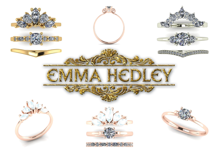 Emma Hedley Jewellery Wedding and engagement ring stacking rings sets diamond rings marquise cut cushion cut pear shaped wish bone handmade bespke wedding rings